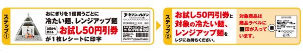 セブンイレブンお試し50円引クーポン利用方法
